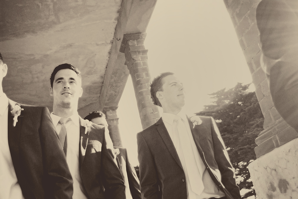 groom and groomsmen walking