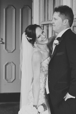Noosa wedding bride and groom cuddle