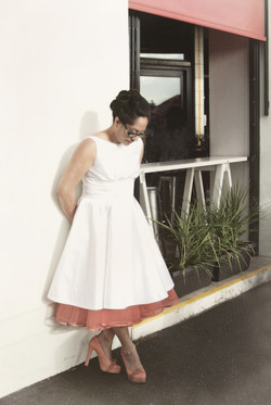 retro bride in red petticoat shoes
