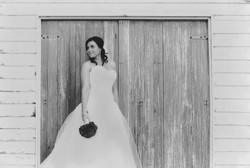 a bride in front of beach box