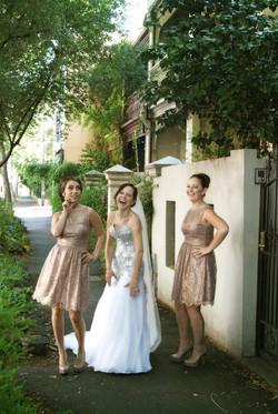 Noosa bride and bridesmaids laughing