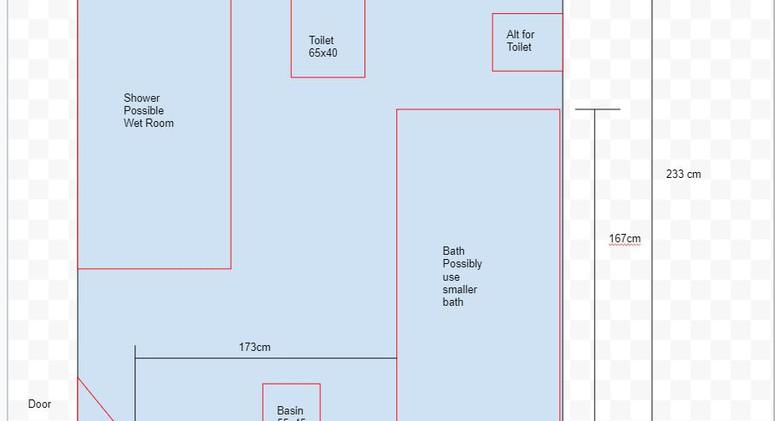 Proposed bathroom measurements