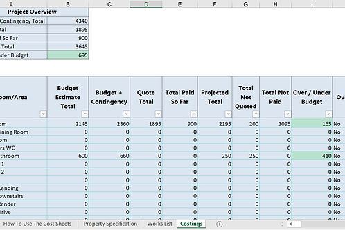 Downloadable Renovation Budget Calculator