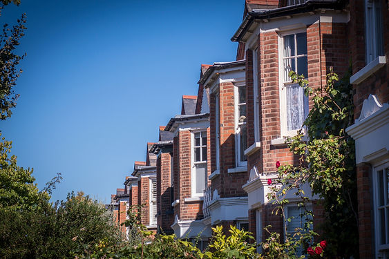 A row of typical British red brick house