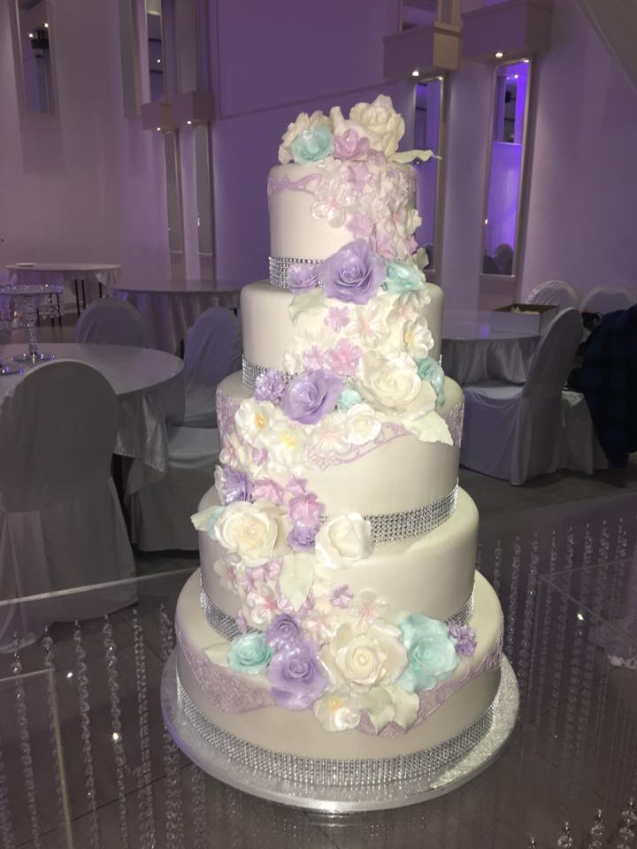 Big cake with handmade flowers
