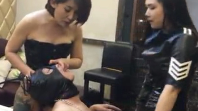 Double Domination dog training by sexy Chinese Mistresses