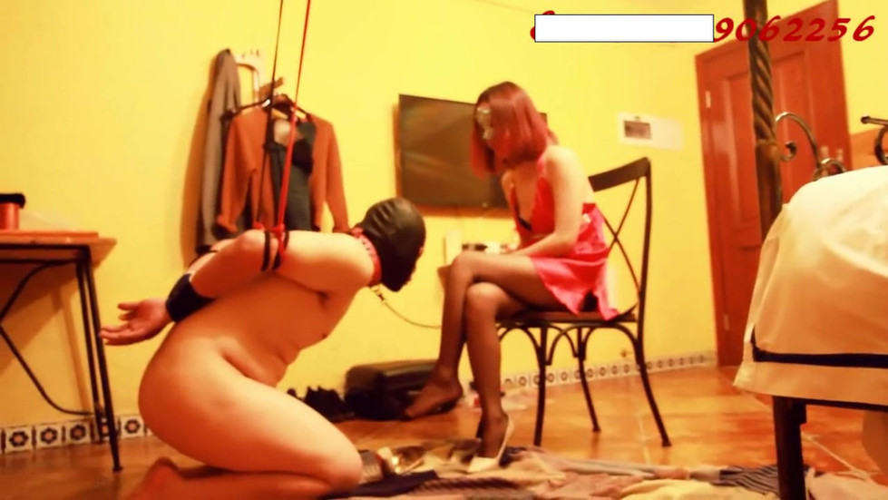 Sexy unattainable Chinese goddess plays with dog slave
