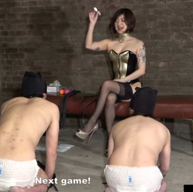 Japanese Goddess with perfect body training her 3 pathetic dogs