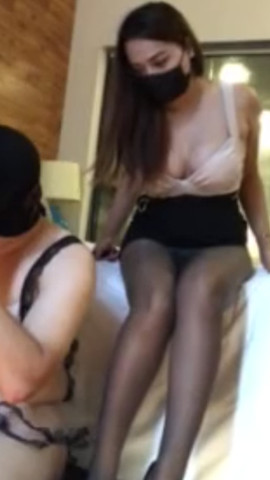 Sexy Chinese Goddess in lingerie worshipped by crossdresser sub
