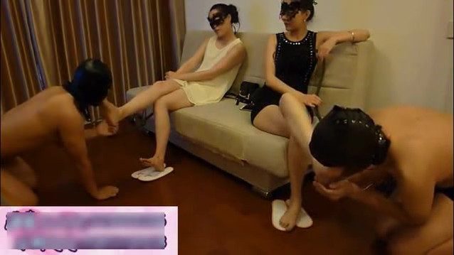 Two Gorgeous Chinese Goddesses worshipped by two subs (double domme)