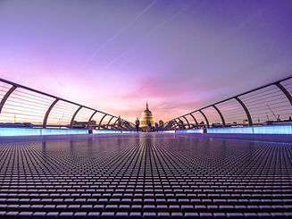 View of St Paul's Cathedral, London from a modern footbridge