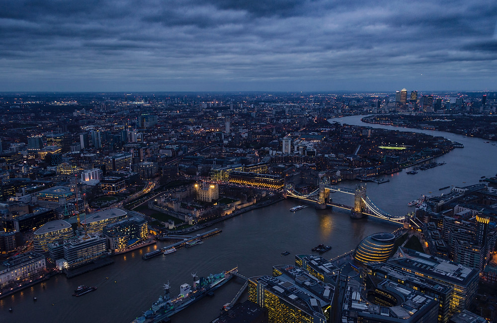 Arial view of London