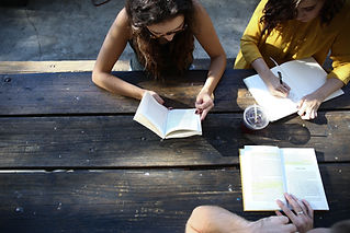 University students studying in a group