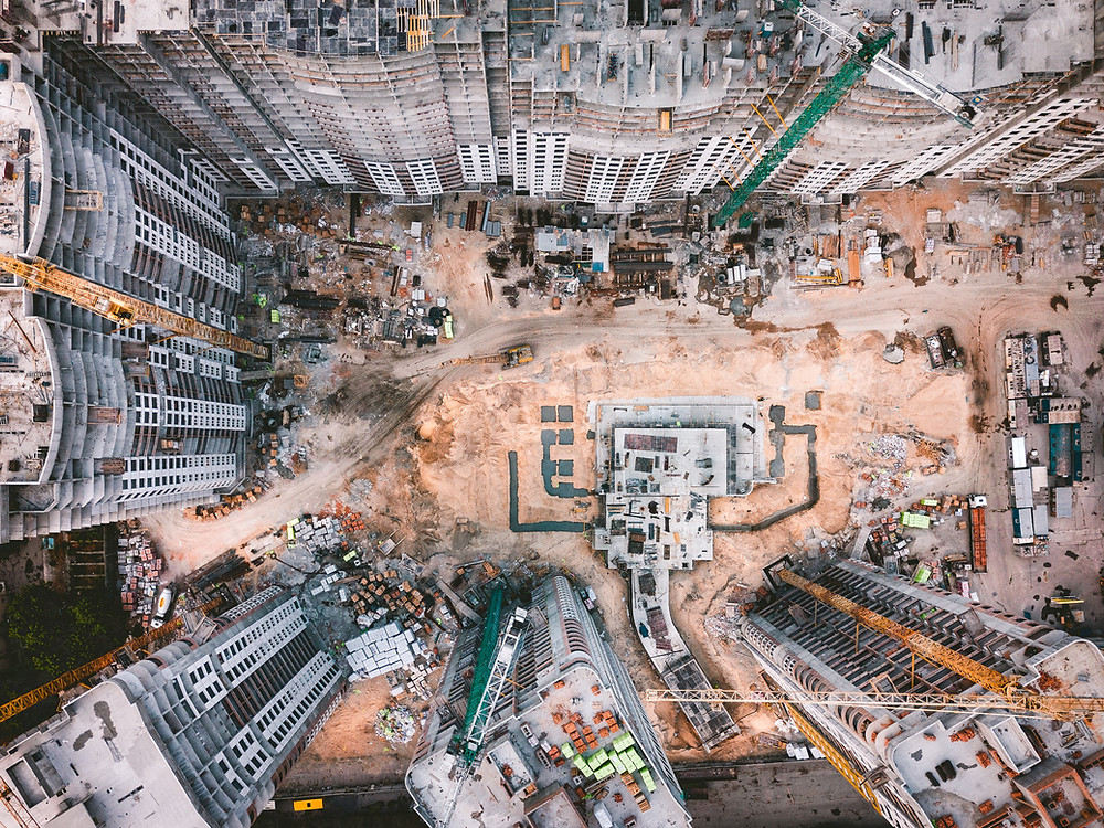 Overhead view of a construction site for the development of several office blocks and apartments
