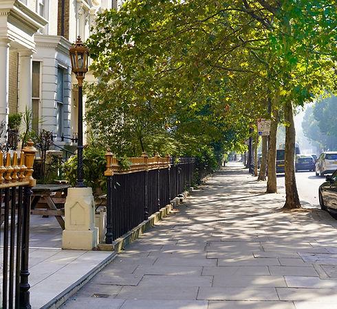 Victorian terraced housing street in London
