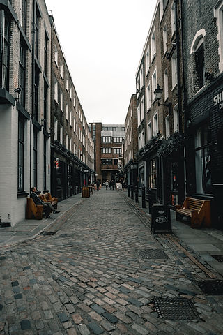 Street in London with semi commercial properties