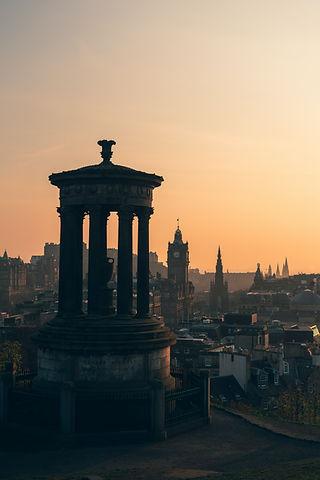 Edinburgh city centre at dusk