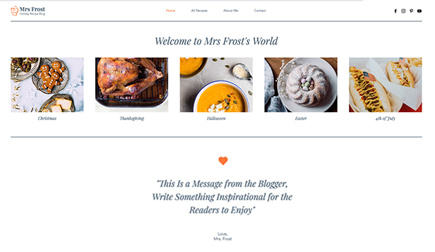 ライフスタイル website templates – Holiday Recipe Blog