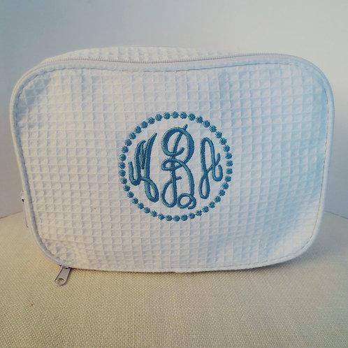 Waffle Cosmetic Bag with Monogram