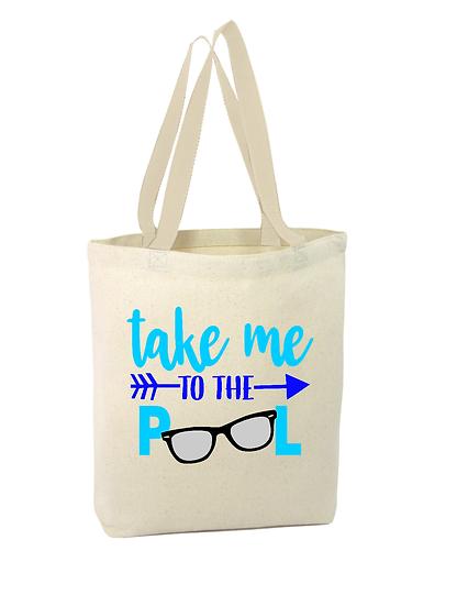 Take me TO THE PooL Cotton Canvas Tote bag