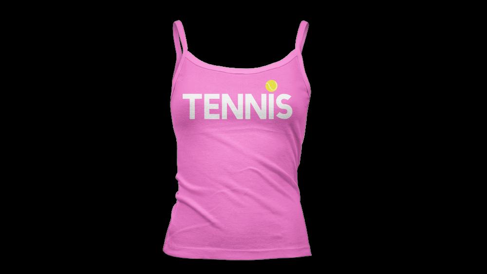 tennis i dot white tank