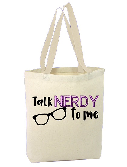 Talk NERDY to me  Cotton Canvas Tote bag