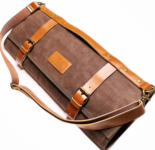 a1a6ec82e MiM Houston Brown Chef Knife Bag, Waxed Canvas, 8 Slots and Utensils  Compartment