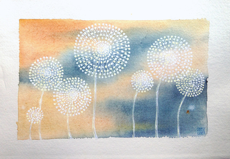 dandelions bleu/ocre