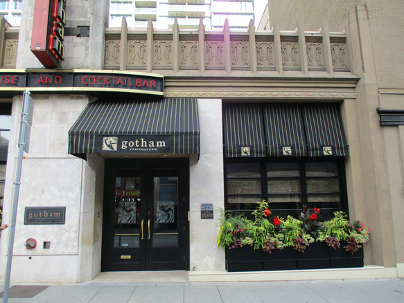 Gotham's Steakhouse 3 pt. Vancouver Awning with Valance