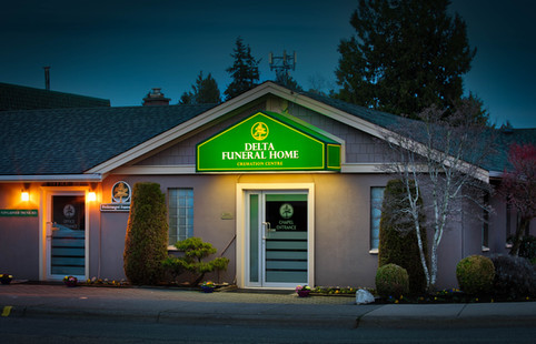 Delta Funeral Home Gable Awning Night