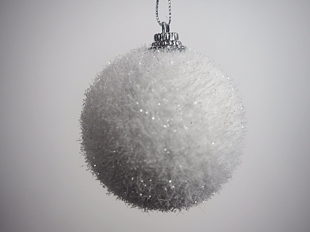 White glitter snow baubles | Honey Bee Home