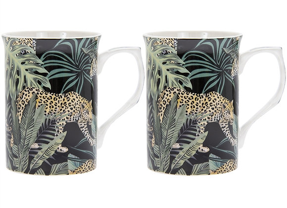 Set of 2 Jungle Cheetah Print China Mugs
