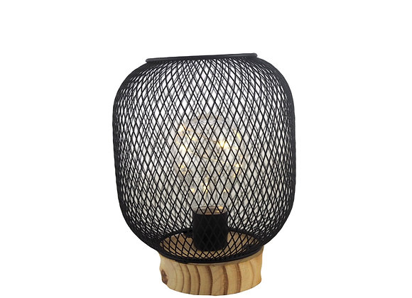 Black wire industrial table lamp on wooden base