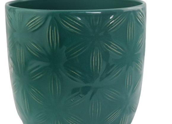 Teal Green Textured Ceramic Plant Pot