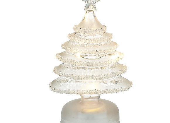 White Frosted Glass Light-up Tree