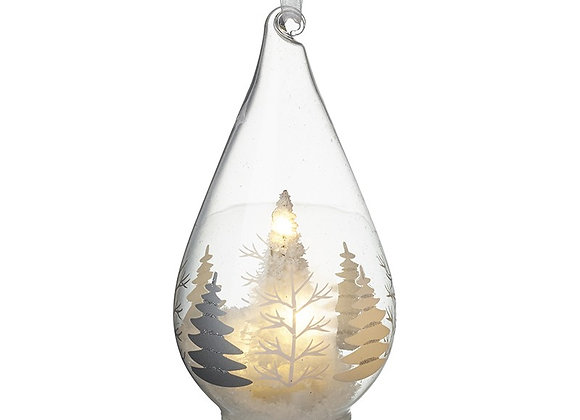 Tree and Winter Scene Light-Up Glass Bauble