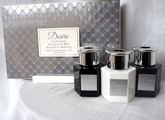 Fresh Linen, Pomegranate Noir and Magnolia and Mulberry Reed Diffuser Set