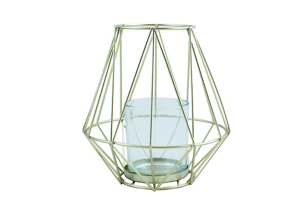 Gold geometric tall candle holder
