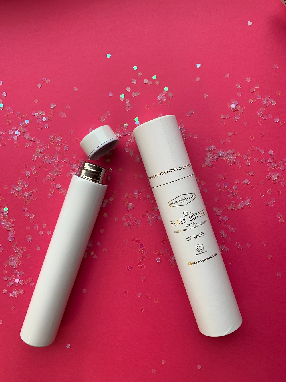 White slimline flask bottle and matching gift packaging