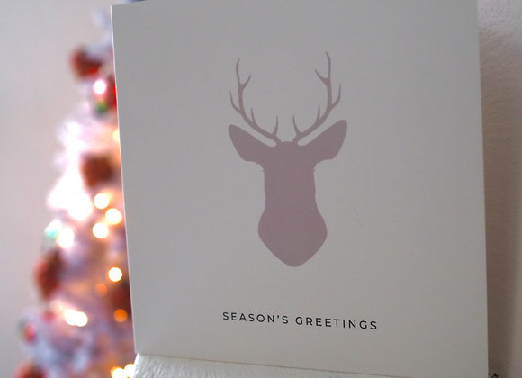 'Season's Greetings' Reindeer square Christmas card