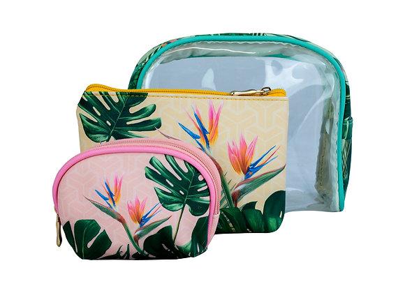 Tropical Print Makeup Bags - set of 3