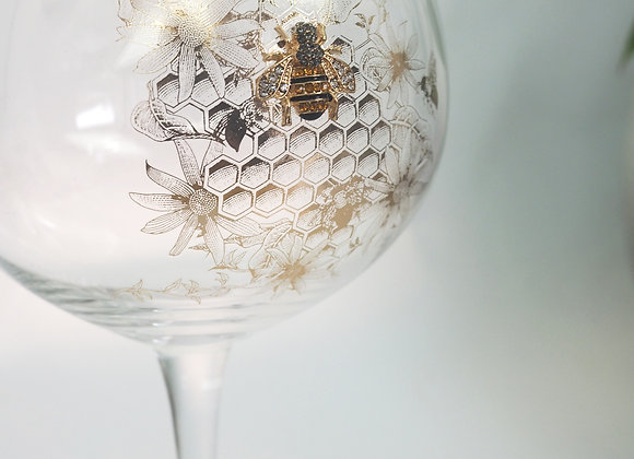 Honeycomb Bee Gin Glass