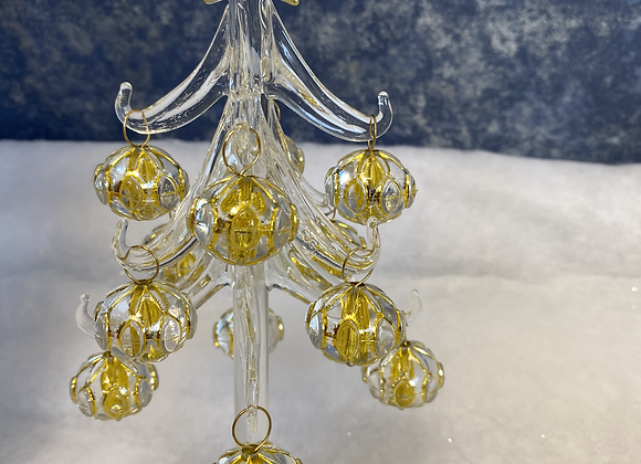 Glass Christmas Tree with Gold Baubles