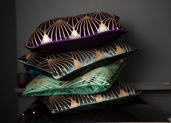 Velvet and Gold Art Deco Cushions