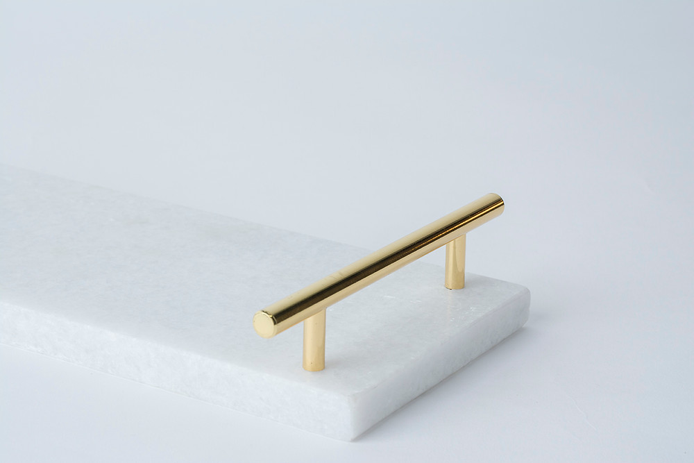 White and gold marble tray | Honey Bee Home