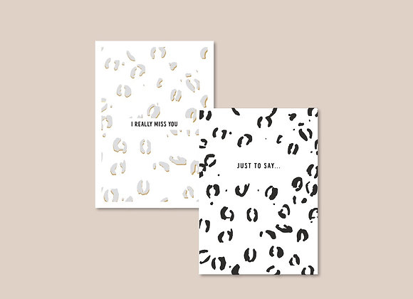 Set of 6 Leopard Print Themed Notecards
