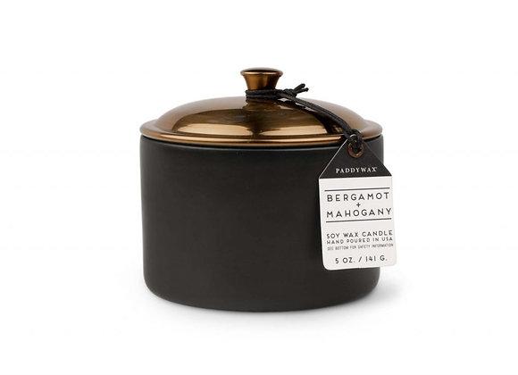 Paddywax Bergamot and Mahogany Candle in Ceramic Jar