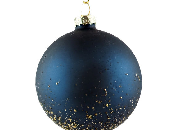 Set of 2 Midnight Blue and Gold Speckled Baubles