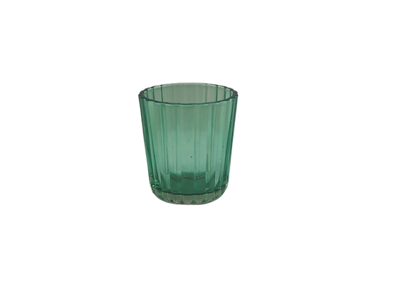 Small Green Ribbed Glass Tealight Holder