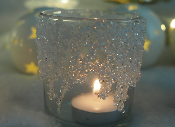Pearl Embellished Winter Tealight Holder